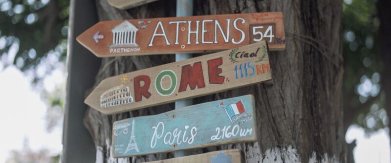 A travel map in Greece. Showing Rome, Athens, Paris | whitefilming