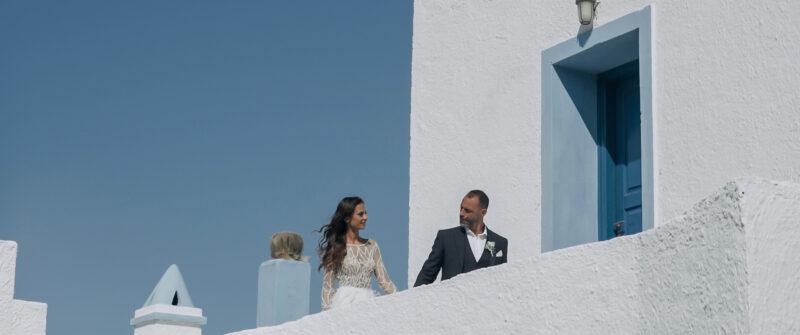 Elegant wedding with a beautiful couple on Tzia island, Greece | whitefilming