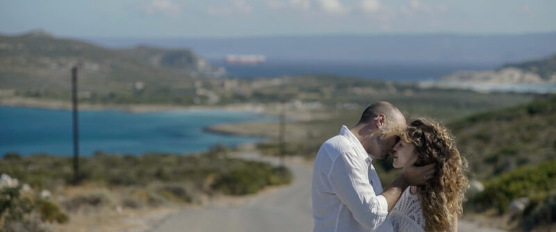 A romantic kiss taking place at Elafonisos island, Greece | whitefilming